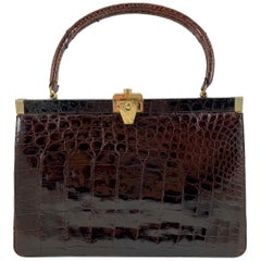 Brown Alligator Structured Ladies Handbag & Coin Purse, Bellestone, NYC