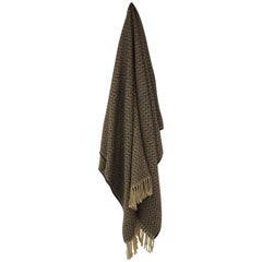 Brown and Beige Chevron Pattern Alpaca Throw with Fringes