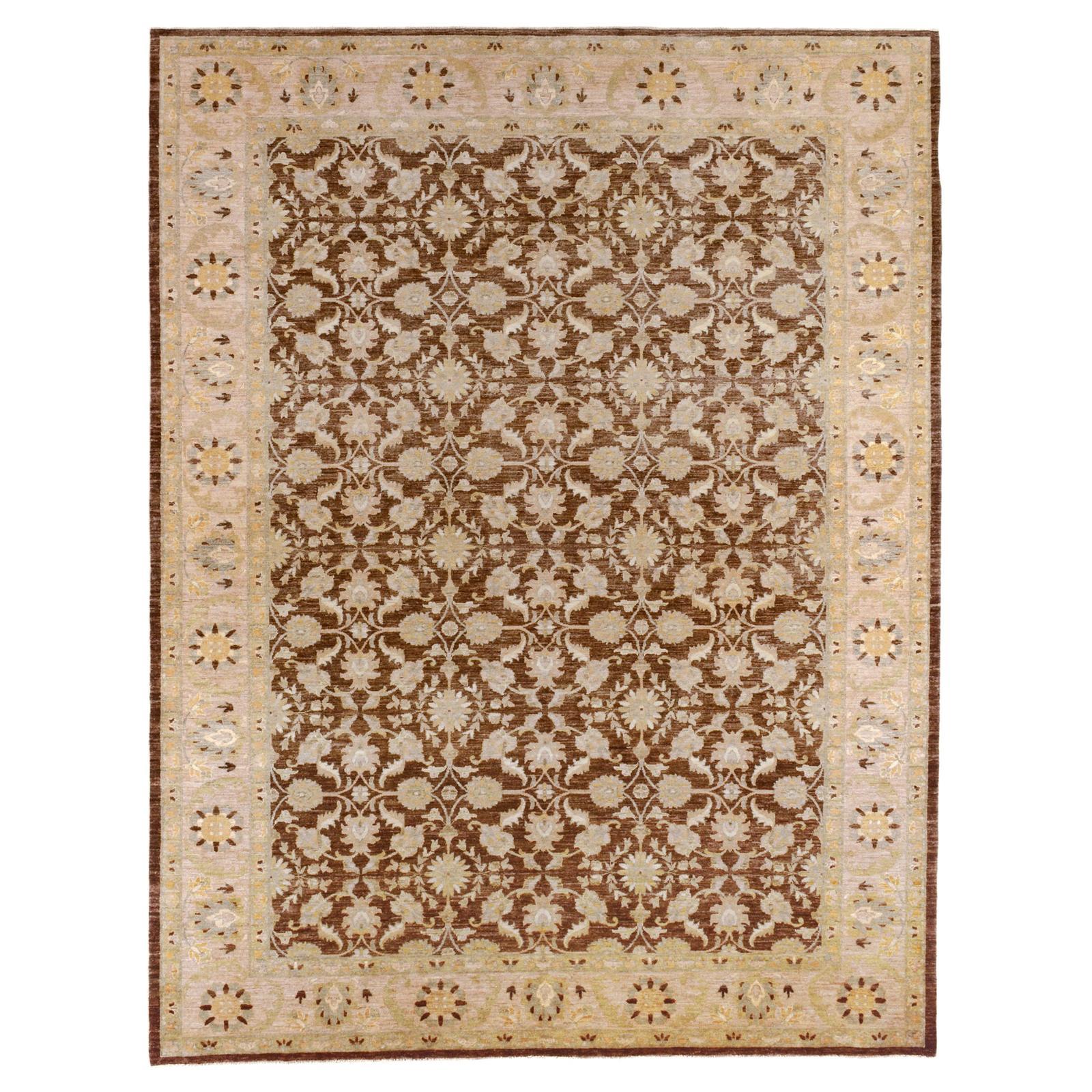 Brown and Beige Floral Wool Area Rug