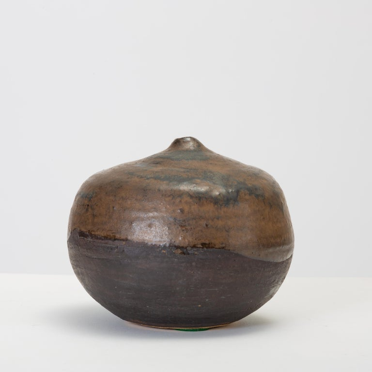 Brown and Black Glazed Studio Pottery Weed Pot by Sakamoto In Good Condition For Sale In Los Angeles, CA