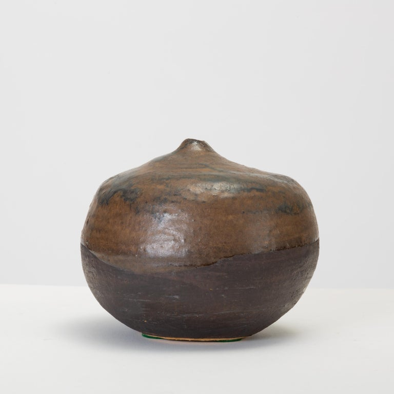 20th Century Brown and Black Glazed Studio Pottery Weed Pot by Sakamoto For Sale