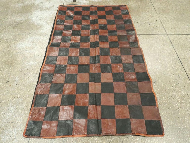 Mid-Century Modern Brown and Black Italian Leather Checkerboard Rug For Sale
