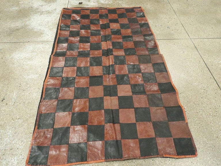 Hand-Woven Brown and Black Italian Leather Checkerboard Rug For Sale