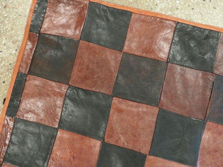 20th Century Brown and Black Italian Leather Checkerboard Rug For Sale