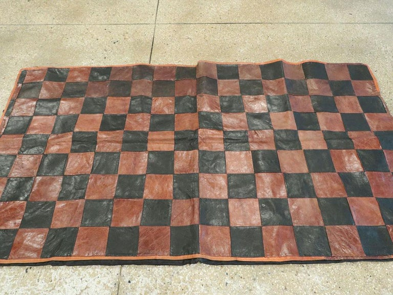 Brown and Black Italian Leather Checkerboard Rug For Sale 1