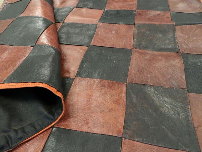 Brown and Black Italian Leather Checkerboard Rug For Sale 2
