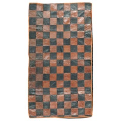 Brown and Black Italian Leather Checkerboard Rug