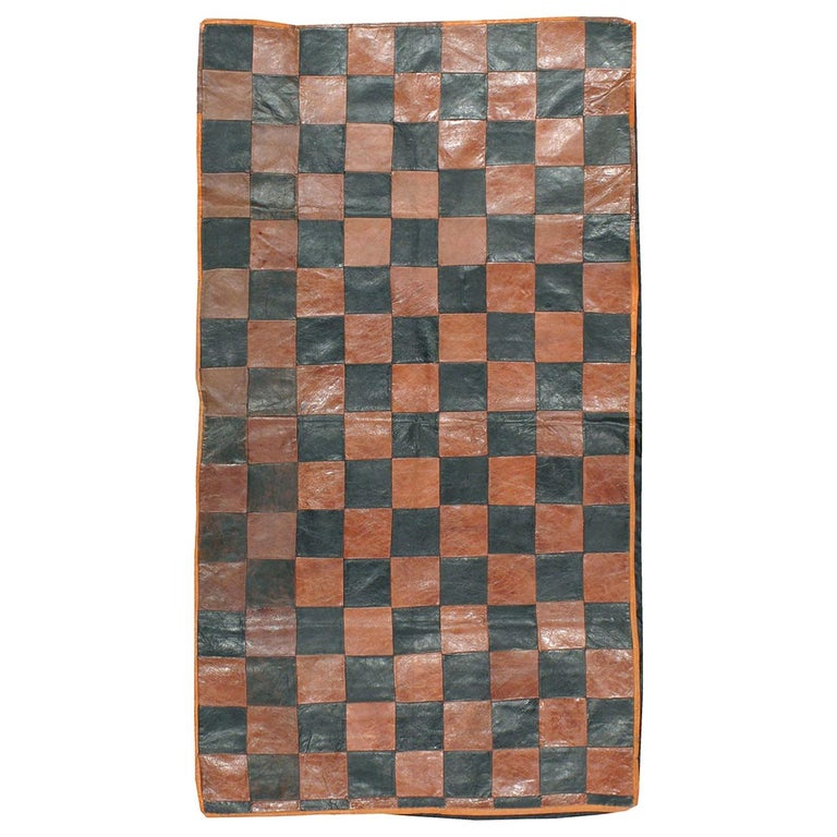 Brown and Black Italian Leather Checkerboard Rug For Sale
