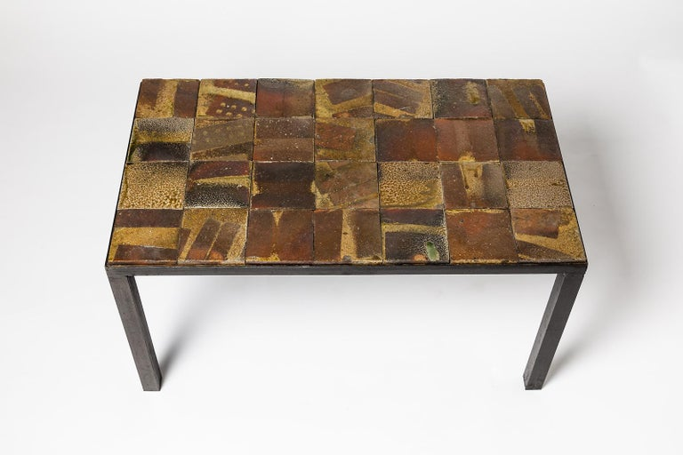 Mid-Century Modern Brown and Black Stoneware Ceramic Low Sofa Table by Jean Linard La Borne, 1975