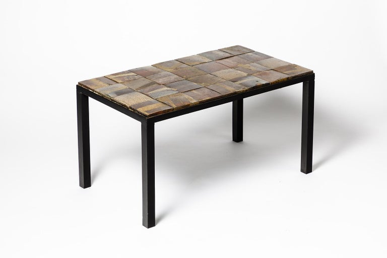 French Brown and Black Stoneware Ceramic Low Sofa Table by Jean Linard La Borne, 1975