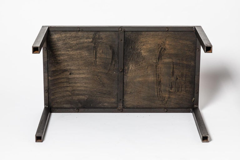 Brown and Black Stoneware Ceramic Low Sofa Table by Jean Linard La Borne, 1975 In Good Condition In Neuilly-en- sancerre, FR