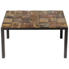 Brown and Black Stoneware Ceramic Low Sofa Table by Jean Linard La Borne, 1975
