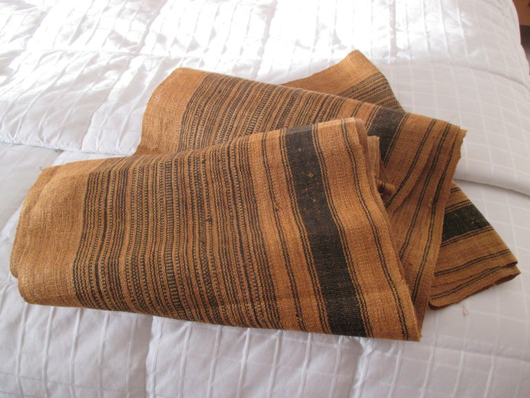 Bohemian Brown and Black Stripes Handwoven Textile Roll For Sale