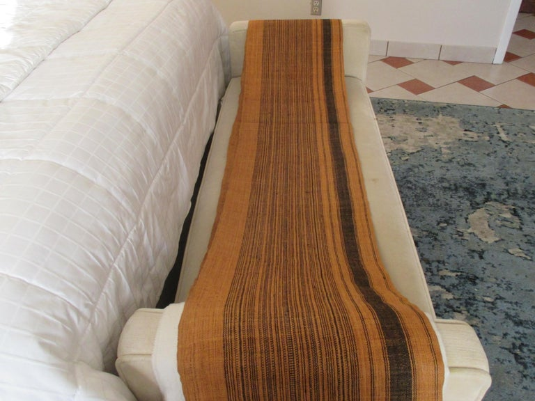 Indonesian Brown and Black Stripes Handwoven Textile Roll For Sale