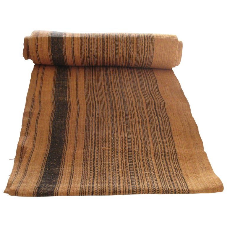 Brown and Black Stripes Handwoven Textile Roll For Sale