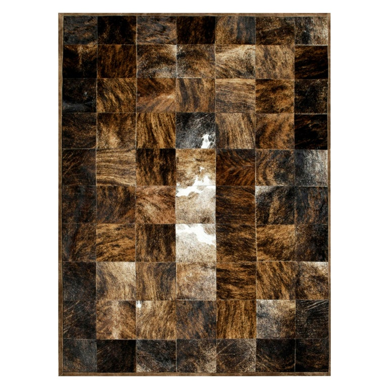 Brown and Black Versatile Desnudo Cowhide Area Floor Rug Large For Sale