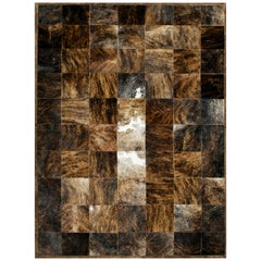 Brown and Black Versatile customizable Desnudo Cowhide Area Floor Rug Small