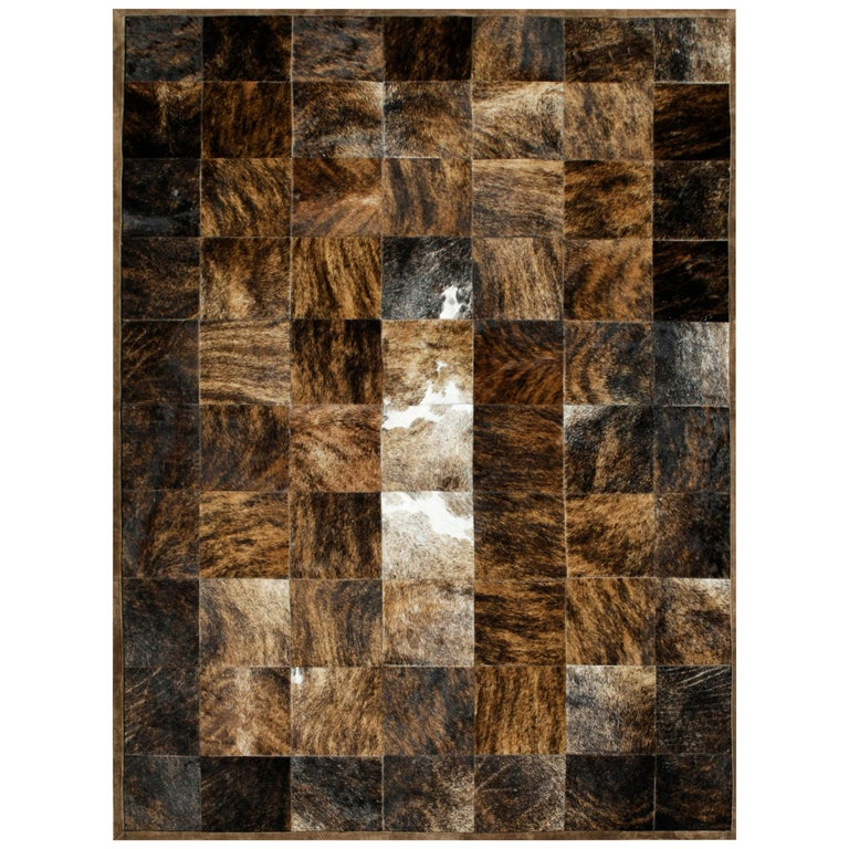 Brown and Black Versatile customizable Desnudo Cowhide Area Floor Rug Small For Sale