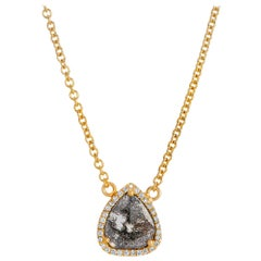Brown and Clear Rustic Diamond Halo Teardrop Pendant in 18k Matte Yellow Gold