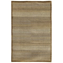 Brown and Cream Modern Architectural All-Natural Pure Wool Area Rug