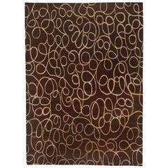 Brown and Cream Swirls Area Rug