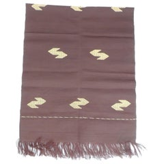 Brown and Gold Silk Woven Textile Panel with Fringes