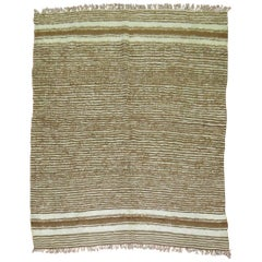 Brown and Ivory Striped Turkish Mohair Rug