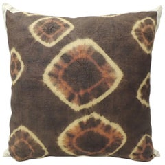 Brown and Orange Vintage Resist Dye African Decorative Pillow