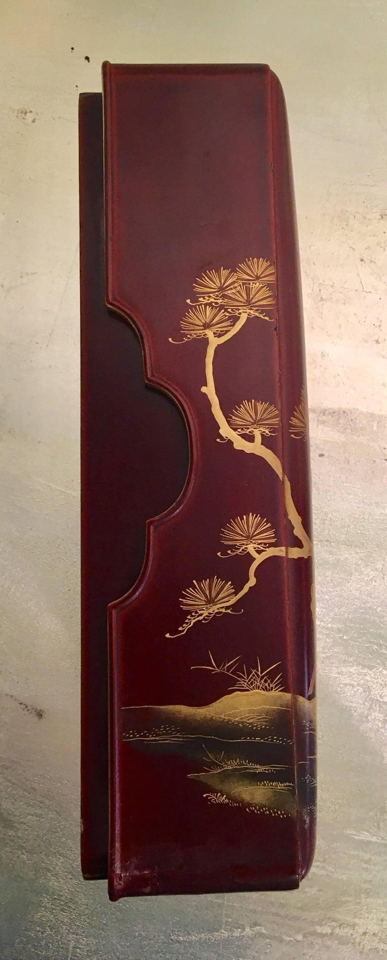 Brown and Red Lacquer Letter Box For Sale 1