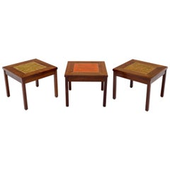 Brown and Saltman Set of Three End Side Tables in Dark Oiled Walnut Art Tile Top