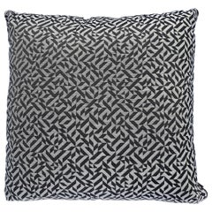 Brown and Tan Decorative Pillow in Alexander Girard Textile