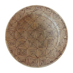 Brown and Tan Graphic Terracotta Round Decorative Plate