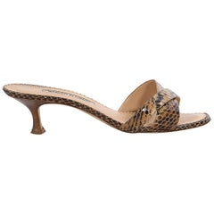 Brown And Tan Manolo Blahnik Leather Snakeskin Sandals