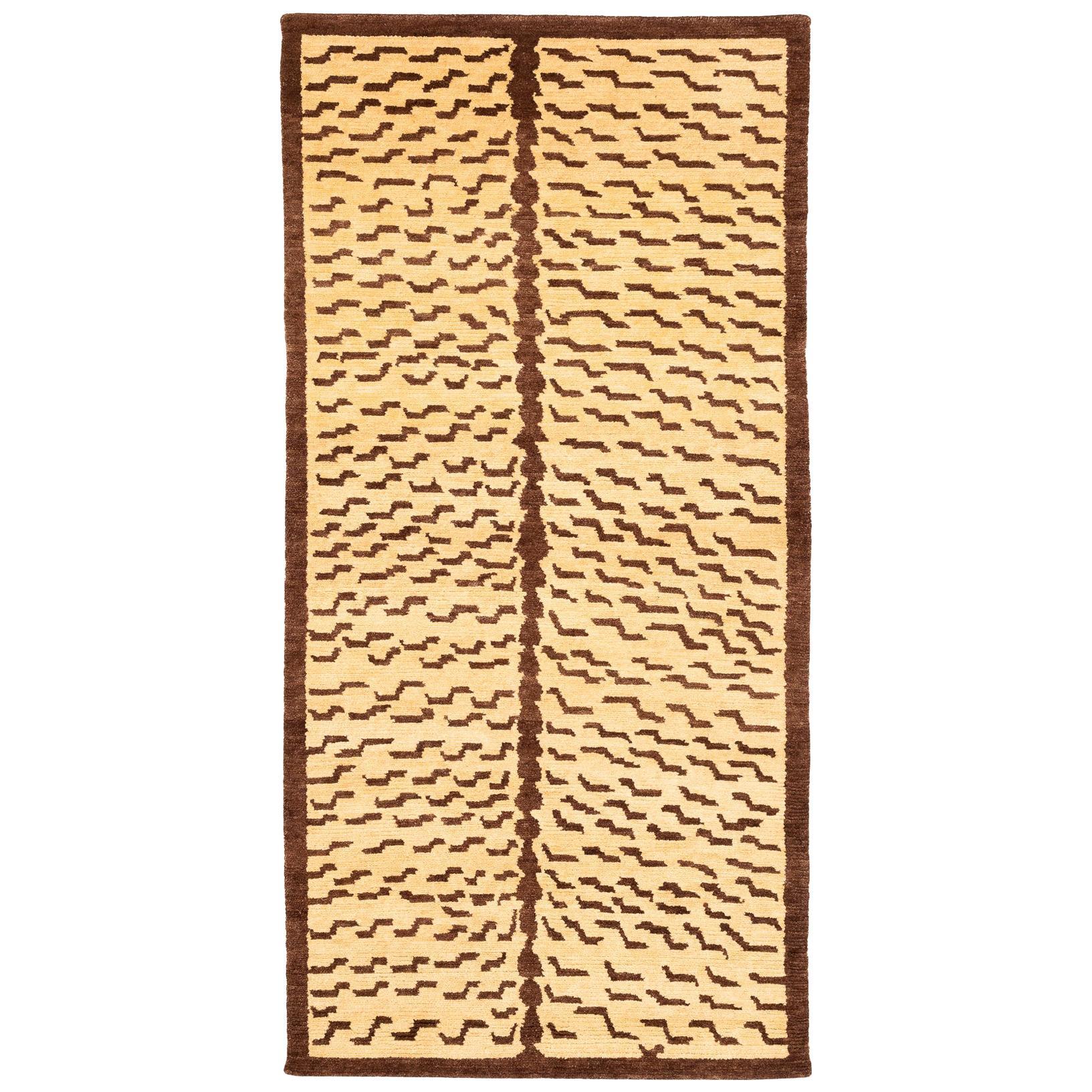 Brown and Tan Wool Tiger Area Rug