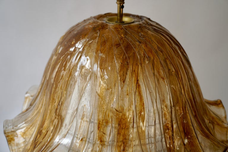 Brown and Transparent Acrylic Pendant Lamp, 1970s For Sale 4