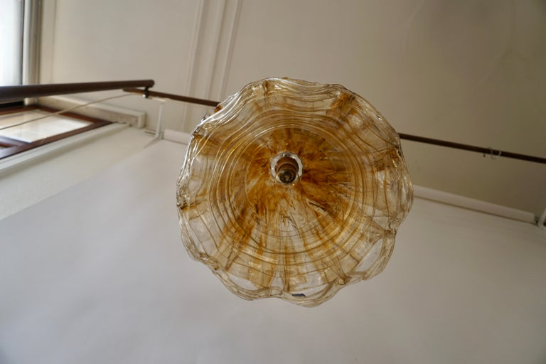 Brown and Transparent Acrylic Pendant Lamp, 1970s For Sale 5