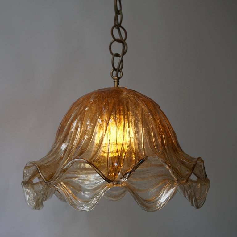 Brown and Transparent Acrylic Pendant Lamp, 1970s For Sale 7