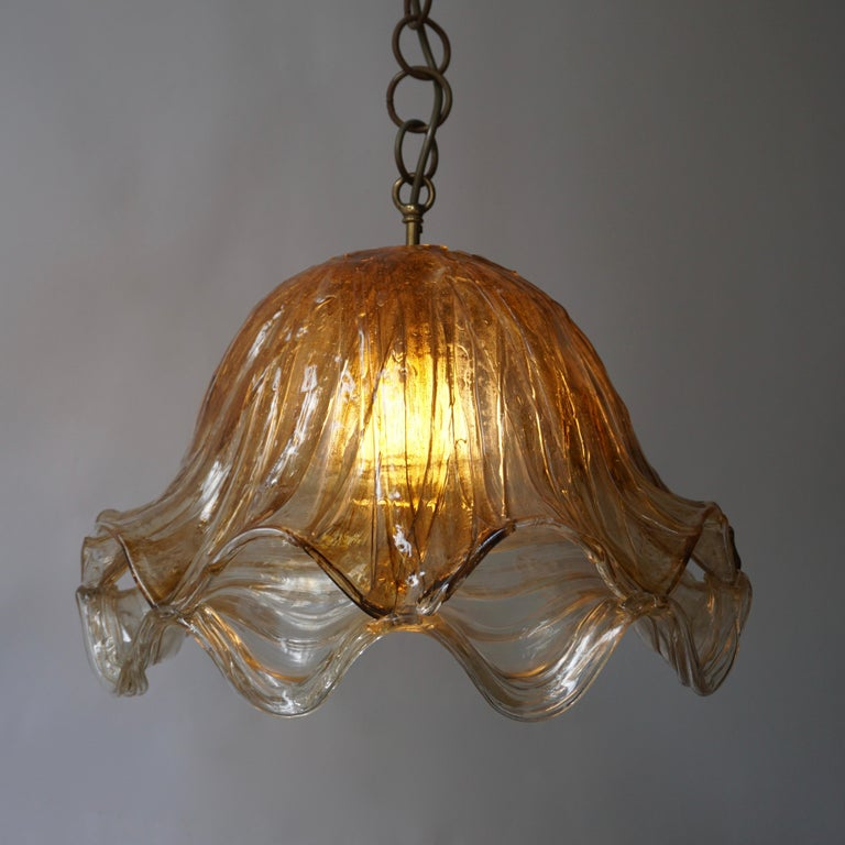 Brown and Transparent Acrylic Pendant Lamp, 1970s For Sale 8
