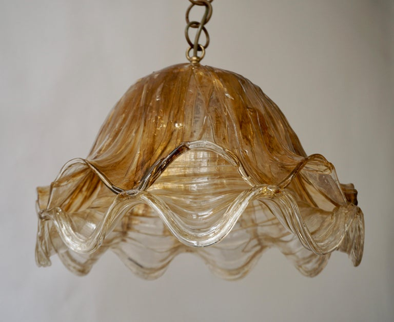 Mid-Century Modern Brown and Transparent Acrylic Pendant Lamp, 1970s For Sale