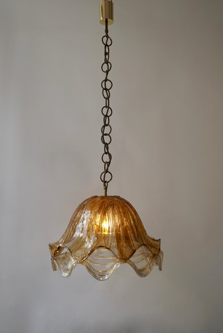 Italian Brown and Transparent Acrylic Pendant Lamp, 1970s For Sale
