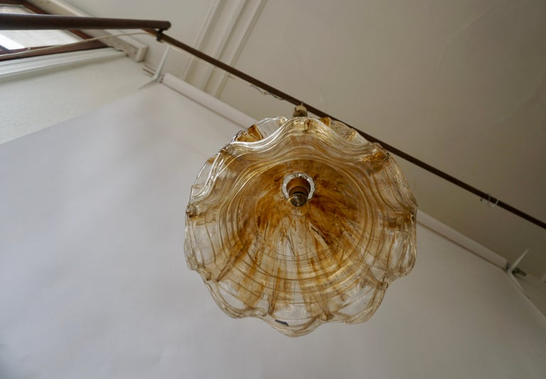 Metal Brown and Transparent Acrylic Pendant Lamp, 1970s For Sale