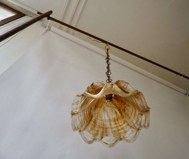 Brown and Transparent Acrylic Pendant Lamp, 1970s For Sale 1