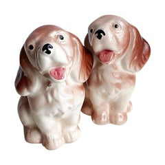 Brown and White Ceramic Dog Salt and Pepper Shakers, a Pair