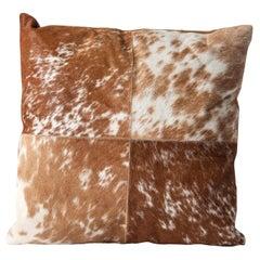 Brown and White Cowhide Cushion