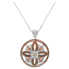 Brown and White Diamond 14 Karat White Gold Circle Pendant Necklace