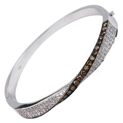 Brown and White Diamond Bangle Bracelet Set in White Gold