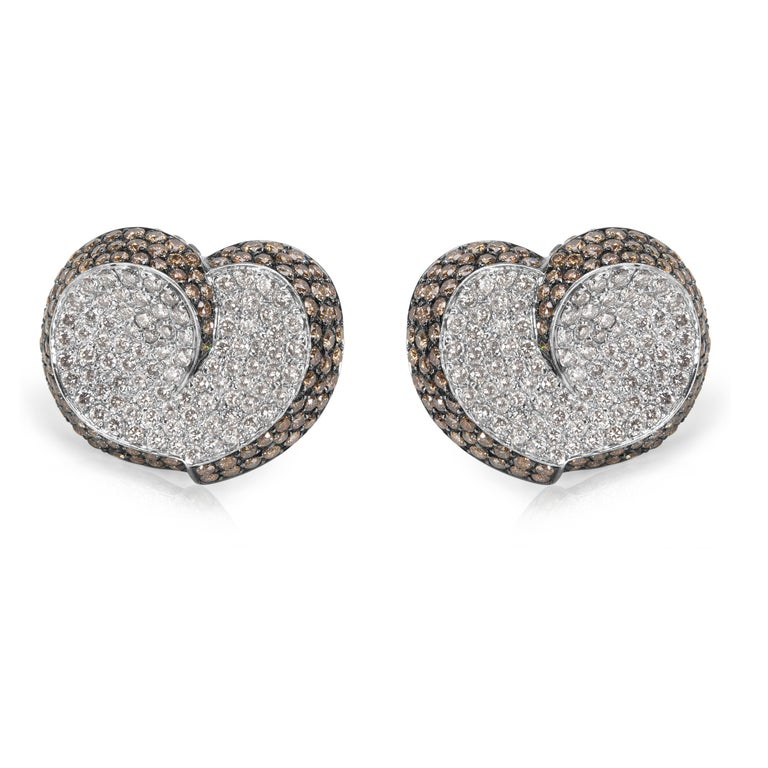 Brown & White Diamond Heart Earrings in 18KT White Gold 7.00 ctw  PRIMARY DETAILS SKU: 033110 Listing Title: Brown & White Diamond Heart Earrings in 18KT White Gold 7.00 ctw Condition Description: Brand New & Unworn. Free US (Contiguous) Shipping.