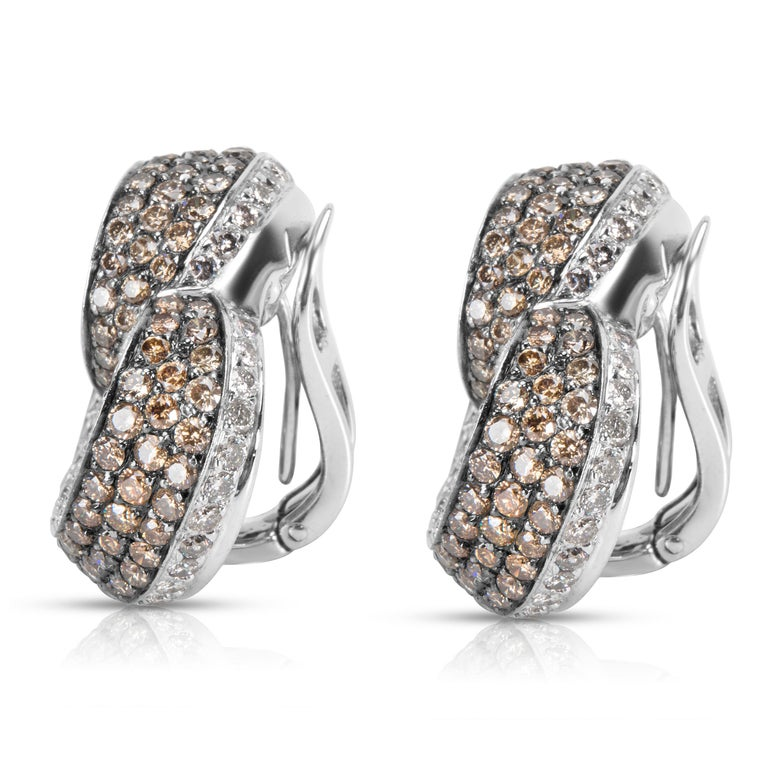 Round Cut Brown and White Diamond Heart Earrings in 18 Karat White Gold 7.00 Carat For Sale