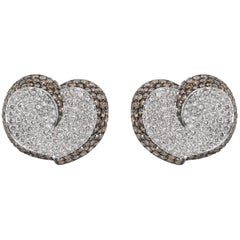 Brown and White Diamond Heart Earrings in 18 Karat White Gold 7.00 Carat
