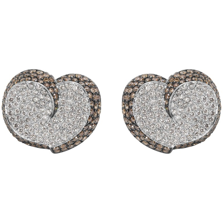 Brown and White Diamond Heart Earrings in 18 Karat White Gold 7.00 Carat For Sale